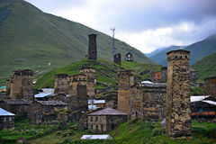 Svanetian towers, Georgia. Towers in Ushguli, Upper Svaneti, Georgia. UNESCO World Heritage Sites Royalty Free Stock Image