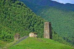 Svanetian towers. Ushguli, Georgia Royalty Free Stock Photo