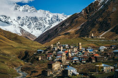 Svanetian Towers in Ushguli, Upper Svanetia, Georgia. Svanetian Towers in Ushguli in autumn. One of the highest inhabited village in Europe. Caucasus, Upper Royalty Free Stock Photos