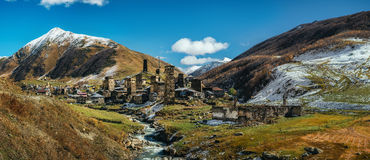 Svanetian Towers in Ushguli, Upper Svanetia, Georgia. Georgian landmarks. Panoramic view of Svanetian Towers in Ushguli and Inguri river in autumn. One of the Royalty Free Stock Image