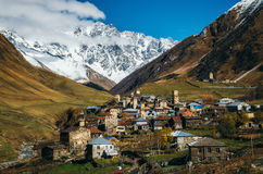 Svanetian Towers in Ushguli, Upper Svanetia, Georgia. Svan Towers in Ushguli in autumn. One of the highest inhabited village in Europe. Caucasus, Samegrelo-Zemo Stock Photo