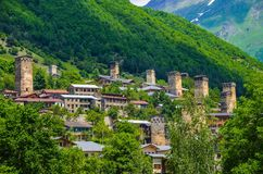Svanetian town. Panorama of a Svanetian town, Georgia Stock Photo
