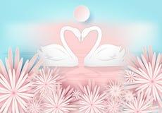 Svanpar och rosa blom- pappers- konst utformar, valentinbegreppet royaltyfri illustrationer