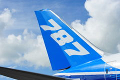 Svans av Boeing 787 Dreamliner flygplan på Singapore Airshow 2012 Arkivfoton