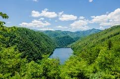 Svans av den sceniska vägen för drake i stora rökiga berg Arkivbilder