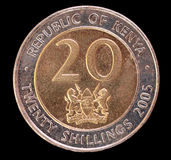 Svans av ett 20 shilling mynt som utfärdas av Kenya i 2005 Arkivbild