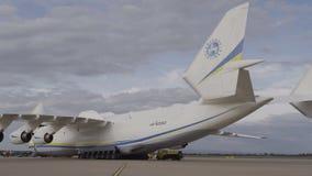 Svans för flygplan för HD Antonov 225 Mriya tvilling- Arkivbilder
