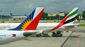 Svansar av emiraten Boeing 777-300ER och Filippinernaflygbolagflygbuss 330 Royaltyfri Bild