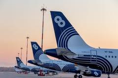 Svansar av flygbussen A319 för passagerarestrålflygplan av Aurora Airlines på flygfält Flyg och trans. fotografering för bildbyråer
