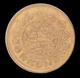 Svansen av 20 kroner myntar, utfärdat av Danmark i 1991 som visar den nationella vapenskölden Arkivbild