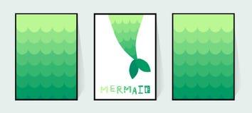 Svanstecknad filmsjöjungfru Vektorväggdekor i badrummet för en flicka Tryck på inbjudankort Lutninggräsplanfishtail stock illustrationer