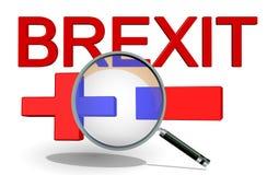 Svantaggi di vantaggi di Brexit sì ora più il meno + -, rappresentazione 3d immagine stock