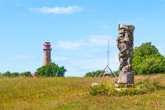 Svantovit slav skulptur på Kap Arkona, Ruegen Arkivbild