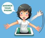 Svara din telefon stock illustrationer