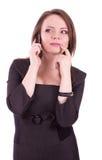 svarande affärskvinnatelefon royaltyfri fotografi