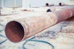 Svarnoy longitudinal welded in Trub, Trub of construction site. A Royalty Free Stock Photo