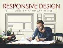 Svars- begrepp för mall för Webpage för designorientering Arkivfoto