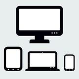 Svars- rengöringsdukdesign Dator, anteckningsbok, minnestavlor och mobil Ph Fotografering för Bildbyråer