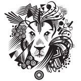 Svart abstrakt lejon med geometriska former Royaltyfri Fotografi