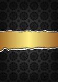Svart abstrakt textur och guld- band Royaltyfri Bild