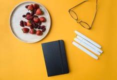 Svart anteckningsbok för tom räkning med pennan Arkivfoton