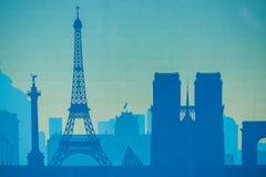 Svart arkitektonisk byggnadssymbol för Cityscape stil för designkonturlägenhet på blå bakgrundsillustration Arkivbild