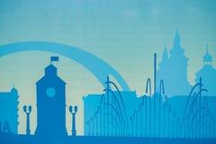 Svart arkitektonisk byggnadssymbol för Cityscape stil för designkonturlägenhet på blå bakgrundsillustration Arkivfoton