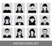 Svart avatarsymbolsuppsättning royaltyfri illustrationer