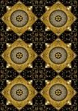 Svart bakgrund av den guld- romben med guld- blommor Royaltyfri Bild