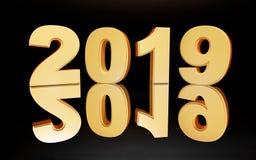 Svart bakgrund för nytt år 2019 Festlig skinande garnering vektor illustrationer