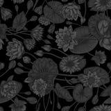 Svart bakgrund Lotus och näckrors, vattenväxter Vektorillustrationen i tappning utformar Grönsakteckning Vektor sömlöst b royaltyfri illustrationer