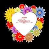 Svart bakgrund med blommor och konturn av hjärtan Royaltyfri Foto
