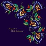 Svart bakgrund med dekorativa ljusa blommor Arkivfoton