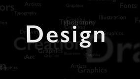 Svart bakgrund med olika ord, som handlar med design close upp kopiera avstånd 3d stock illustrationer