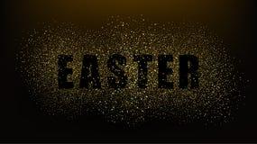 Svart bakgrund med ordpåsken Guld blänker partiklar Guld- blänka texturerar EPS10 vektor illustrationer