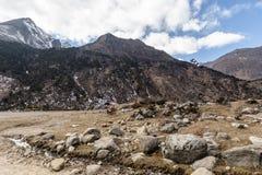 Svart berg med molnet i himmel- och stenjordningen under på den Thangu och Chopta dalen i vinter i Lachen Norr Sikkim, Indien Royaltyfri Bild