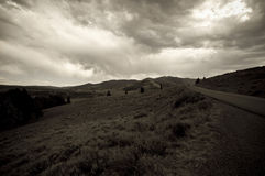 svart bergvägwhite royaltyfri foto