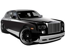svart bil speciallyxiga inbillade Rolls Royce stock illustrationer