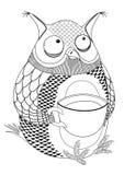 Svart bild av en uggla som dricker kaffe vektor illustrationer