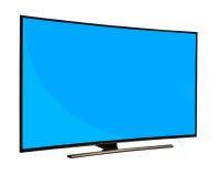 Svart bildskärm med den tomma blåa skärmen som isoleras på vit backgroun Royaltyfri Foto