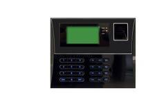 Svart biometric bildläsning med fingeravtryckavkännaren och den digitala skärmen Arkivfoton