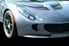 svart blå bil isolerade sportar Arkivfoto