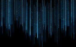 Svart blå binär bakgrund för systemkod Arkivfoto