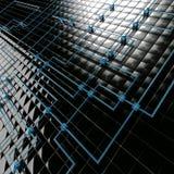 svart blå kubmetall stock illustrationer