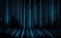 Svart blå binär bakgrund för systemkod Arkivbild
