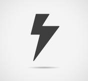 Svart blixtsymbol som isoleras på vit bakgrund Pråligt symbol för vektor Fotografering för Bildbyråer