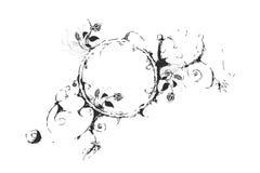 svart blommacirkelwhite Arkivfoton