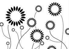 svart blommas vektor illustrationer
