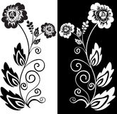 svart blommawhite stock illustrationer
