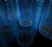 svart blue för bakgrund Yttersida med randiga cirklar i mörker 3d Arkivbilder